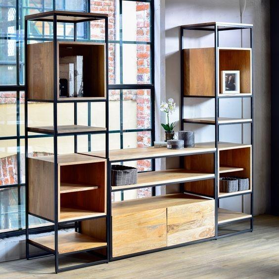 Bonito librero fabricado en madera y acero mli 01 - Libreros de madera modernos ...