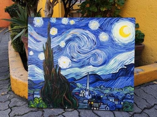 bonito lienzo cuadro impreso en tela  la noche estrellada