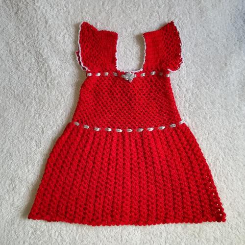 bonito vestido rojo tejido a mano unico diseño para bebe