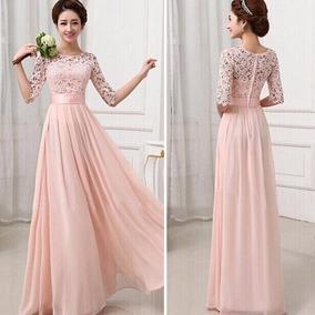 670bdc30c964 Vestidos Ala Moda Largos - Vestidos de Mujer Largo Rosa claro en ...