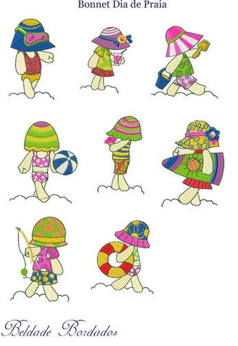 bonnet dia de praia - coleção de matriz de bordado