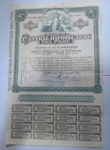 bono antiguo del banco central hipotecario del perú