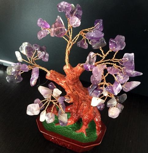 bonsai árbol cuarzo amatista energía paz protección fengshui