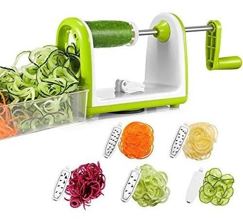 bonsenkitchen cortador verduras en espiral 5 cuchillas corta