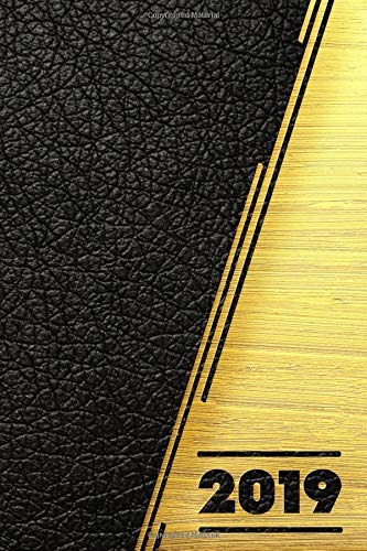 book : 2019 black leather & gold effect daily weekly &...