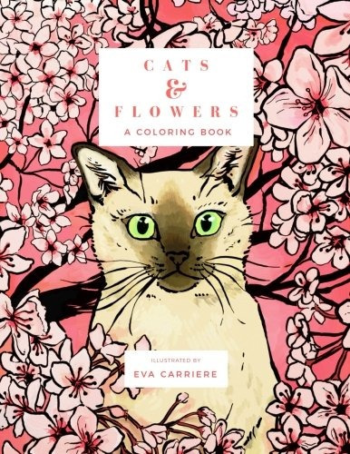 book : cats & flowers a coloring book - carriere, eva