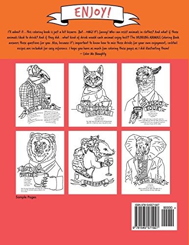 book : drinking animals coloring book - naughty, color me