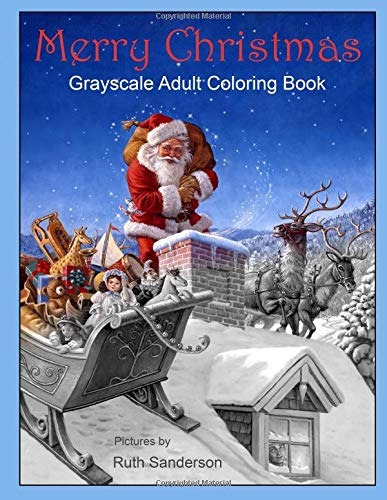 book : merry christmas grayscale adult coloring book -...