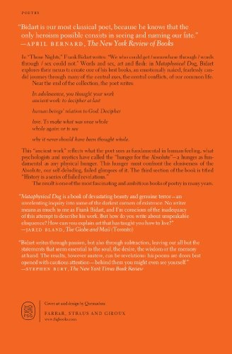 Book Metaphysical Dog Poems Frank Bidart