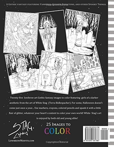 book : misfits a gothic fantasy coloring book for adults and