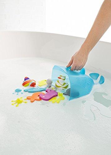 boon whale pod drain y almacenamiento bath toy scoop, azul