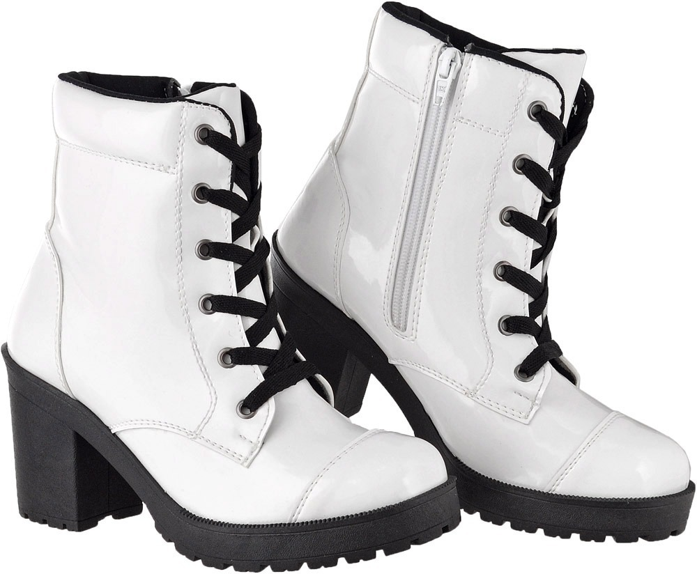 b924946c101 boot feminino casual color verniz branco salto tratorado. Carregando zoom.