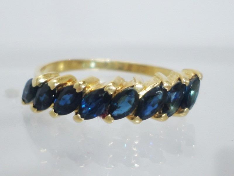 64806bf3651e8 boqueiraojoias anel meia aliança ouro 18k com 8 safira azul. Carregando  zoom.