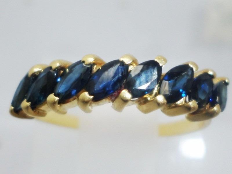 74f8035283543 boqueiraojoias anel meia aliança ouro 18k com 8 safira azul. Carregando  zoom.