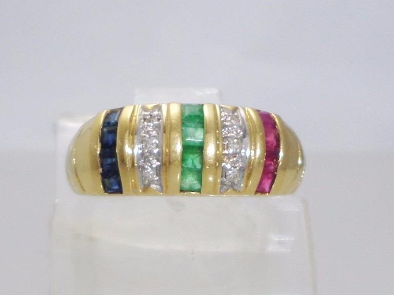 edadc28732980 Boqueiraojoias Anel Ouro 18k Diamantes Esmeralda Rubi Safira - R ...