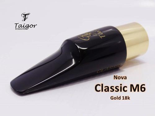 boquilha taigor sax alto classic m6 preta gold c/braçadeira