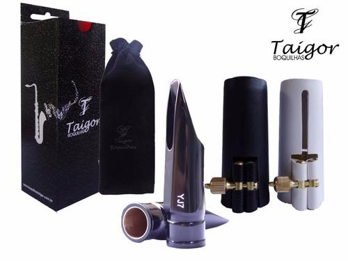 boquilha taigor sax alto jazz yj7+braçadeira e cobre boquilh