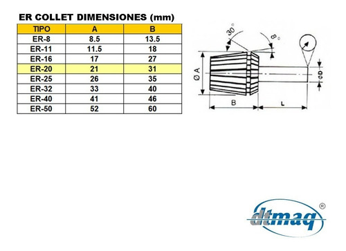 boquilla collet pinza er 20 para cabezal cnc diametro 7-6mm