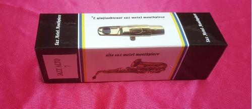 boquilla metal saxo soprano + caja de caña x 10 unidades