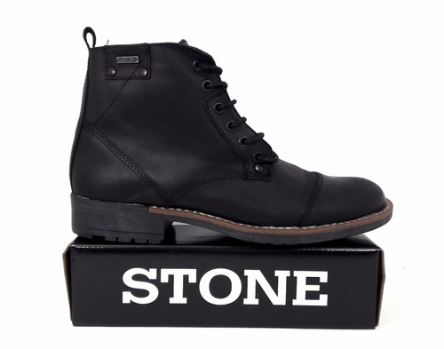 borcego de cuero caña media stone art 507 negro envio gratis