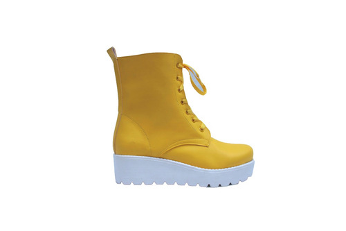 borcego de lluvia de goma plataforma amarillo talle 36