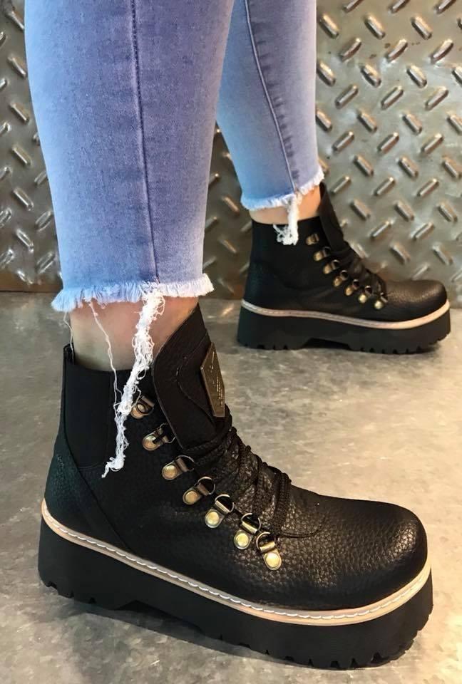 zapatos para baratas múltiples colores mejor servicio Borcegos Mujer Eco Cuero Negros Army Plataforma Botas