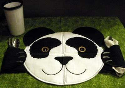 bordado computadorizados panda porta talheres bc858