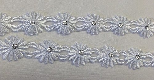 Christening 5 Yards 1 Communion Baptism White Chained Daisy Flower Trim on Organza with Silver Sequin Embroidery