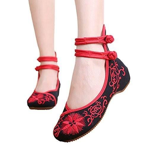 sports shoes bce36 43709 Bordado Mujer F De Tacon Zapatos Bordados Chino Pisos Estilo rwp0r