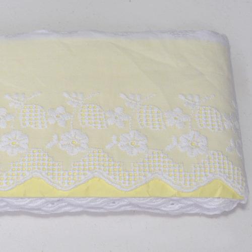 bordado inglês branco 100% algodão larg 4,5cm lote 13,7 m