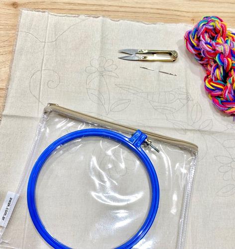 bordado mexicano tela + bastidor + lanas + agujas + corta