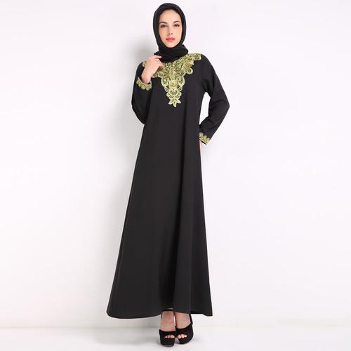bordado rabe islmica robe mujer maxi vestido