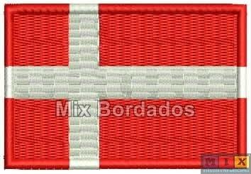 bordado termocolante - bandeira países - dinamarca 7x4,5cm