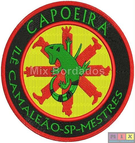 bordado termocolante - lutas - capoeira ilê camaleão 16x16cm