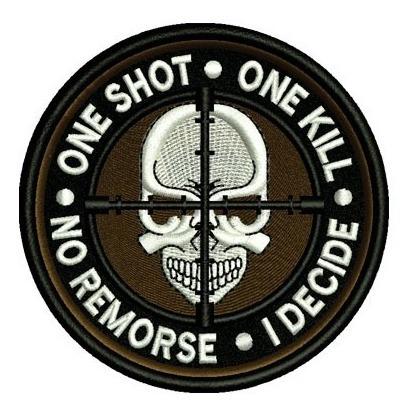 bordado termocolante one shot one kill  mod. ka2196