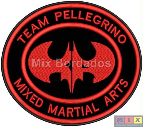 bordado termocolante - patch team pellegrino mma 18x15cm