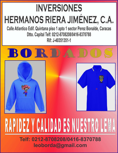 bordados al mayor y detal ,chemises, franelas, gorras