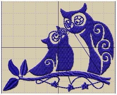 bordados computadorizados bc#111 corujinha azul