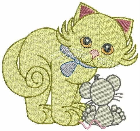 bordados computadorizados bc#287 gatinho e abelhinha
