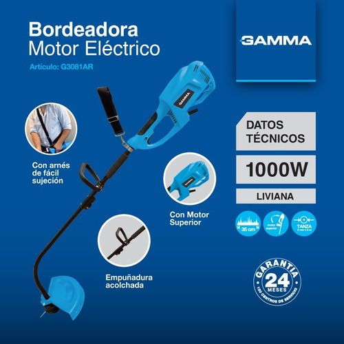 bordeadora eléctrica gamma 7500rpm 1000w 35cm corte cesped
