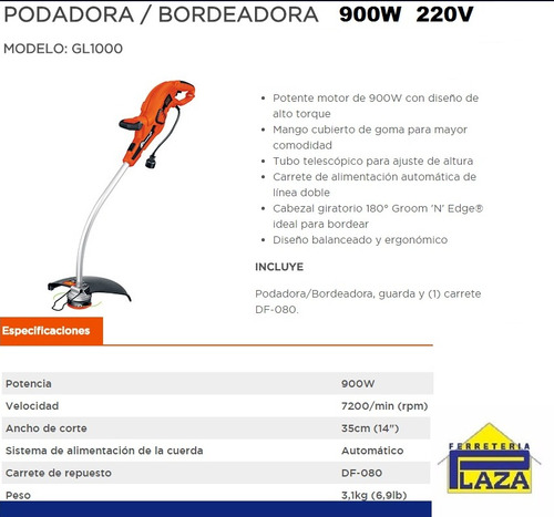 bordeadora eléctrica gl1000 black and decker 900w