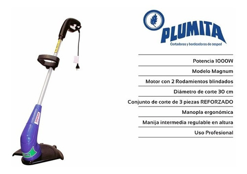 bordeadora electrica plumita 1000w 30cm full carrito+regalos