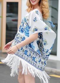 b7624db329 Borlas Floral Impresso Tecido De Seda Praia Blusa