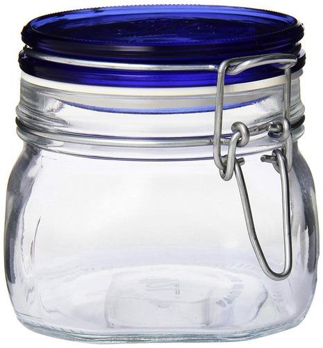 bormioli rocco fido frasco cuadrado con tapa azul , 17-1 / 2