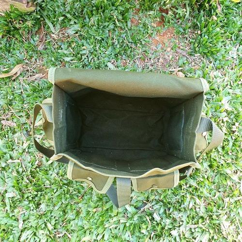 bornal militar verde oliva em lona super resistente