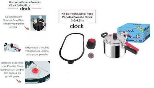 borracha  panela de pressao clock nova com guia 4,5lts