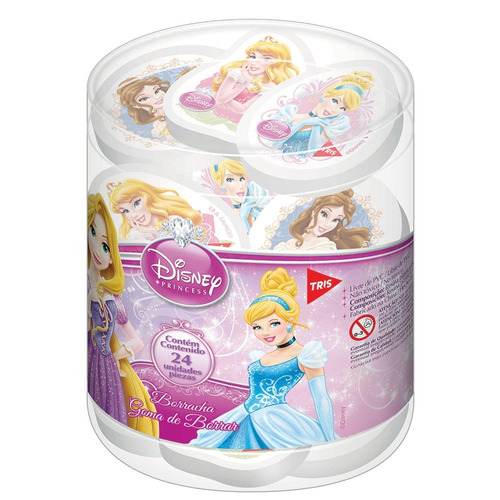 borracha top pote pvc com 24un princesas disney tris