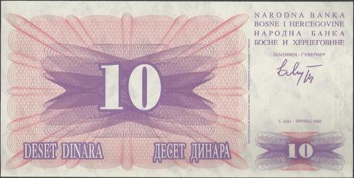 bosnia & herzegovina 10 dinara 1 jul 1992 p10a