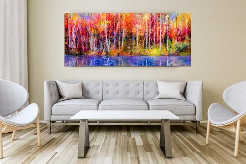 bosque colores cuadro decorativo  lienzo canvas
