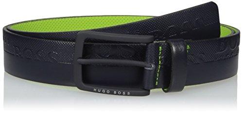 boss green toluca leather embossed belt accesory, navy, 42 u